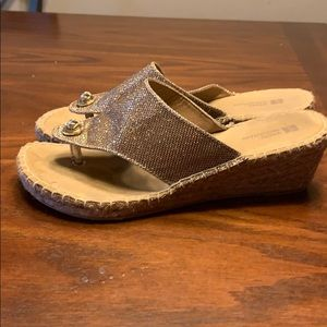 White Mountain Shoes - Gold fabric wedges